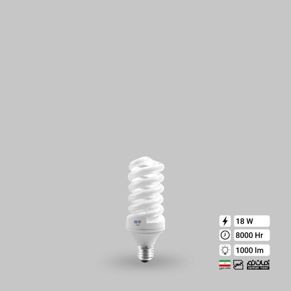 لامپ کم مصرف پیچ 18وات زمان نور