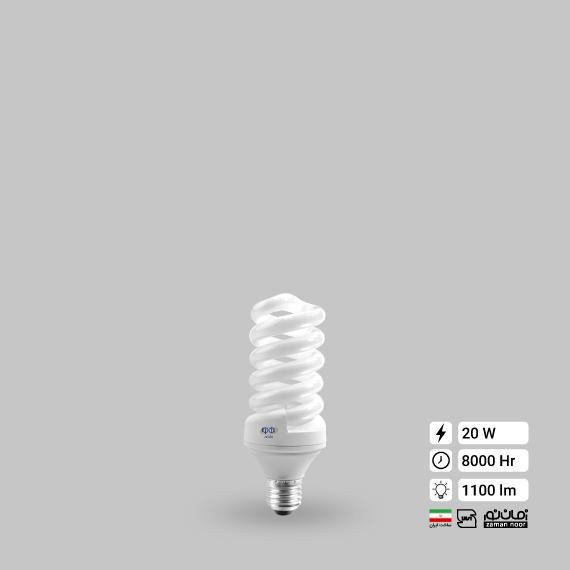 لامپ کم مصرف پیچ 20 وات زمان نور