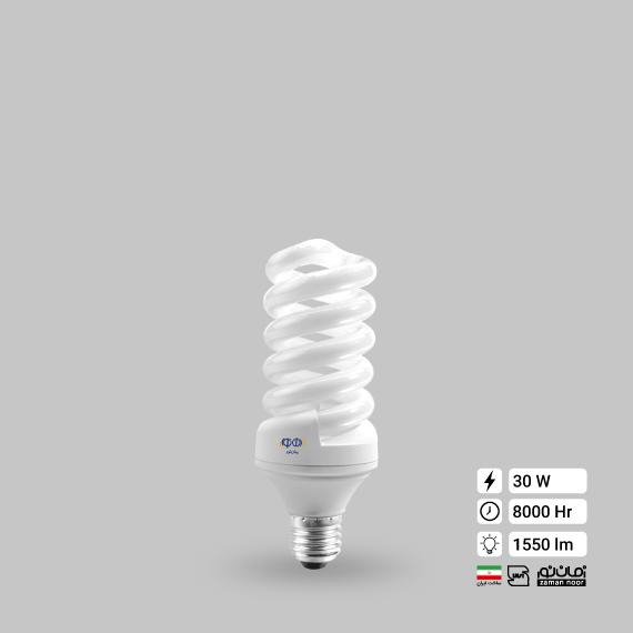 لامپ کم مصرف پیچ 30 وات زمان نور