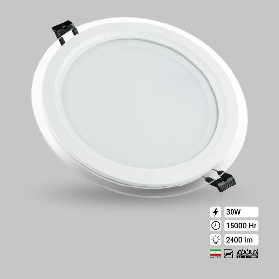 پنل گرد دور شیشه ای 30وات زمان نور