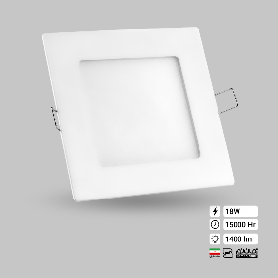پنل اسلیم مربع 18 وات زمان نور